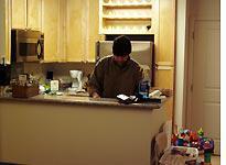Shagbark doing dishes.