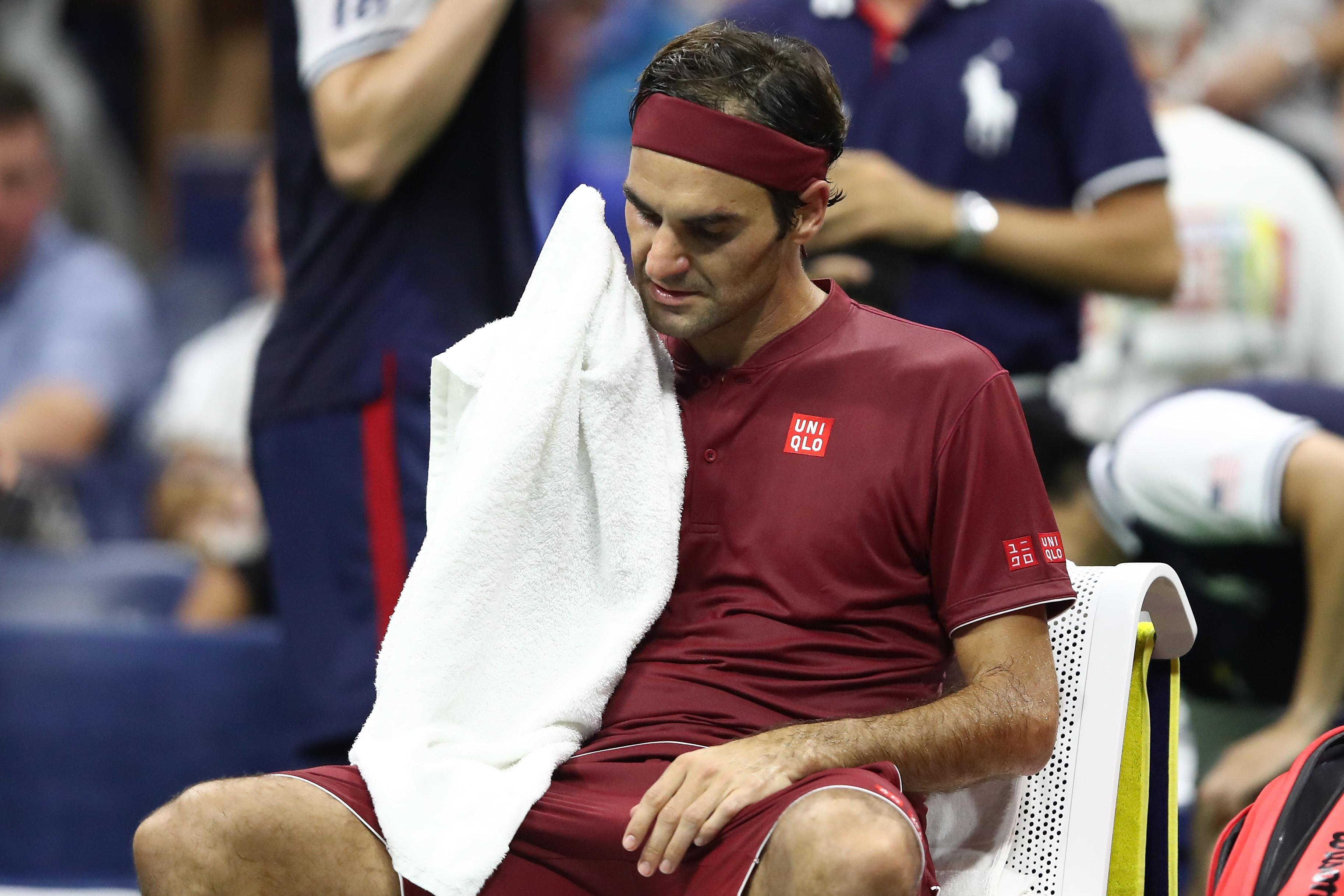 Roger Federer of Switzerland during the men's singles fourth round.