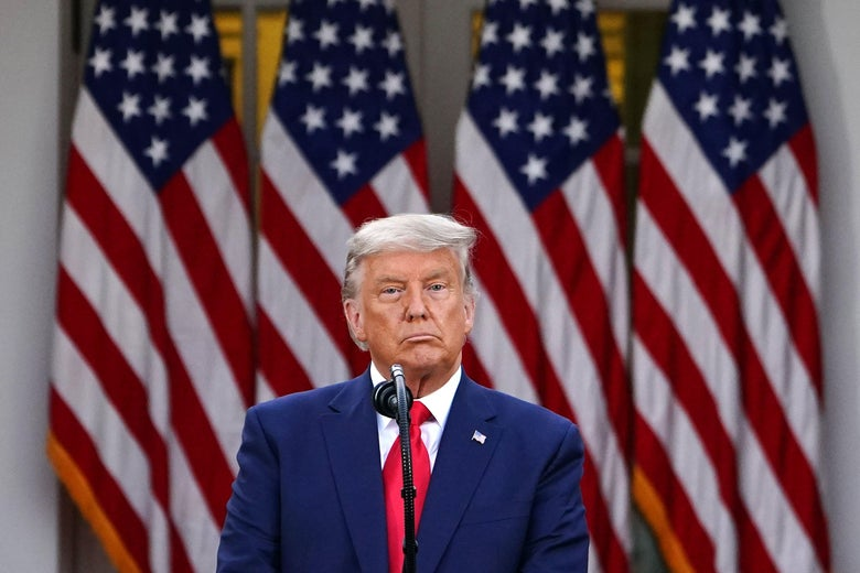 Donald Trump at a microphone in front of American flags.