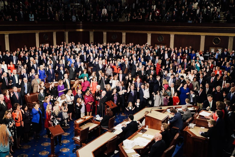 Members of the House stand on the first day of the 116th Congress.