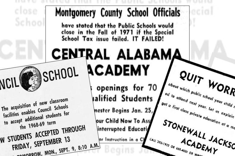Collage of advertisements for segregation academies.