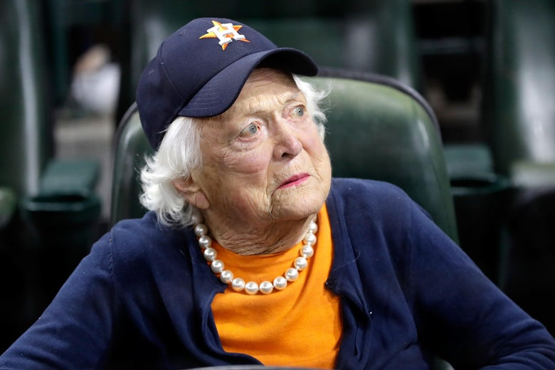 Former first lady Barbara Bush looks on during the 2017 World Series between the Houston Astros and the Los Angeles Dodgers on Oct. 29, 2017 in Houston, Texas.