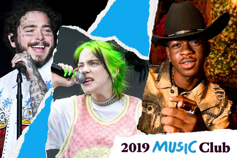 "Post Malone, Billie Eilish, and Lil Nas X with text in the corner that says, ""2019 Music Club."""