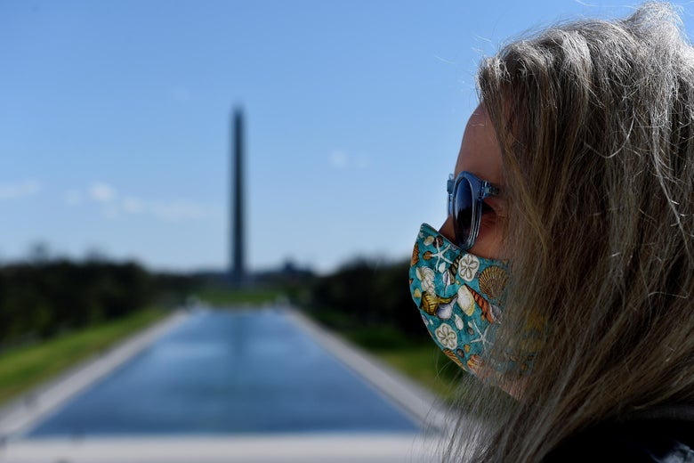 A woman in profile wearing a face mask printed with seashells, with the Lincoln Memorial and reflecting pool in the background.