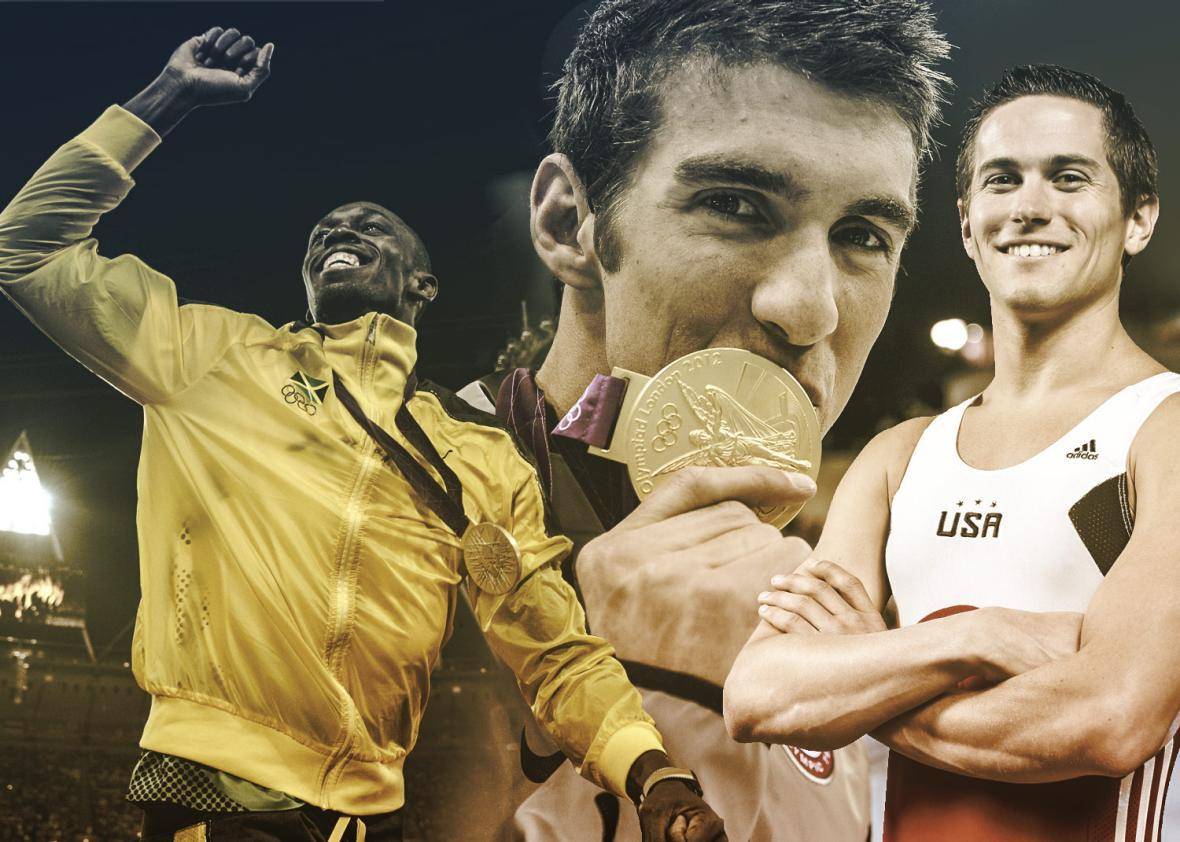 Olympians Usain Bolt, Michael Phelps and Logan Dooley.