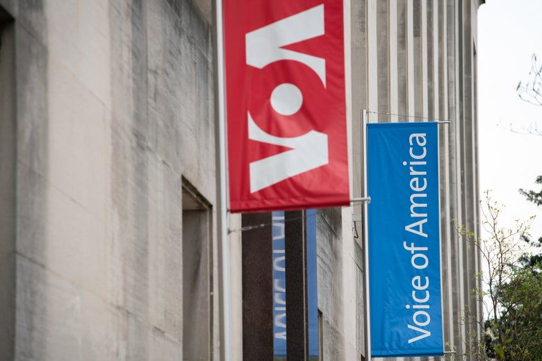 The outside of the Voice of America (VOA) headquarters in Washington, D.C.