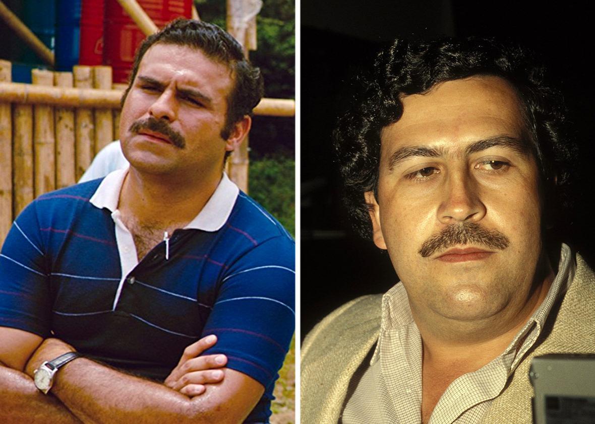 Left: Pablo Escobar (Mauricio Mejía) in American Made. Right: the real-life Pablo Escobar.