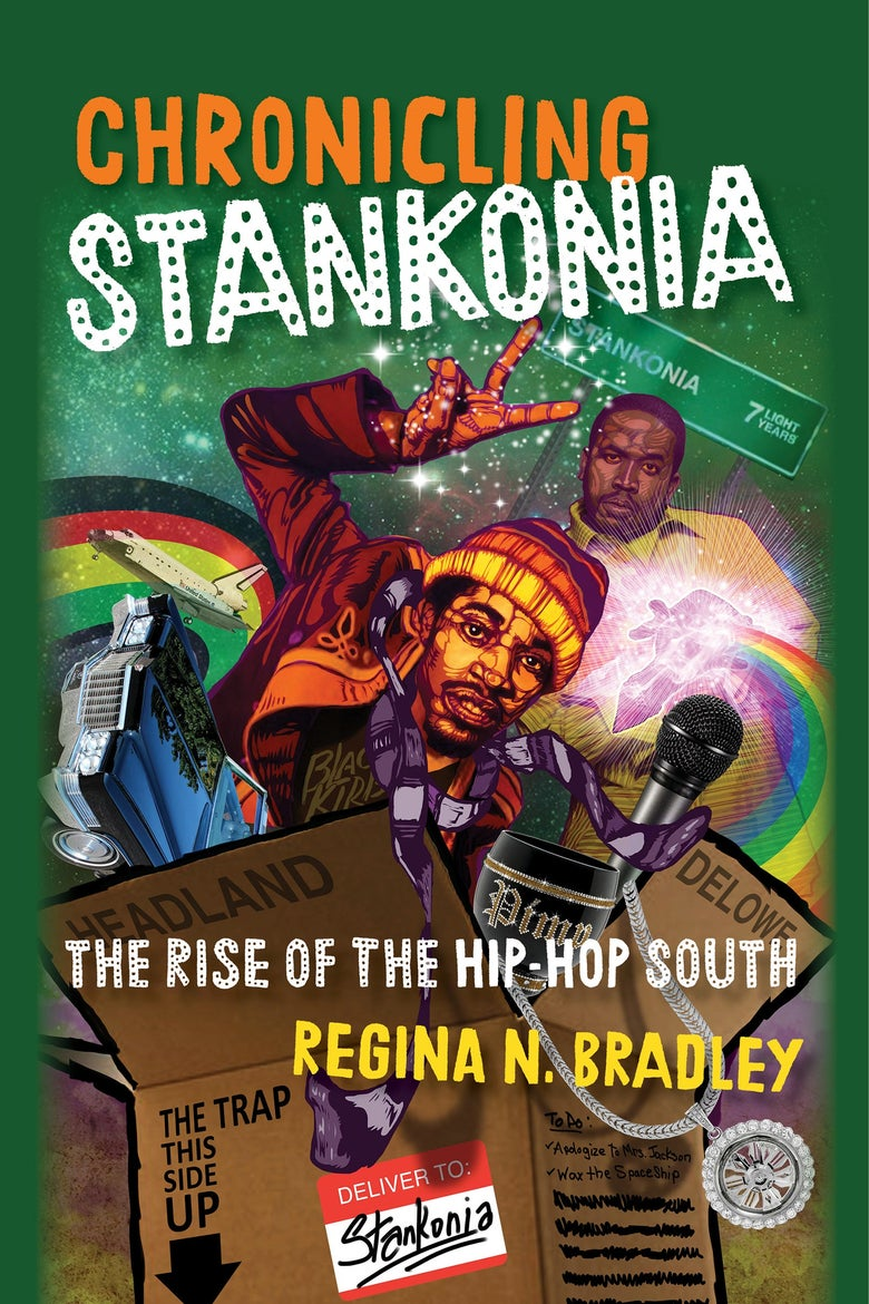 The book cover for Chronicling Stankonia has a green background with illustrations of André 300 and Big Boi surrounded by rainbows and coming out of a cardboard box.