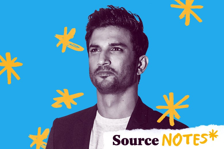 Sushant Singh Rajput with a logo that says Source Notes.