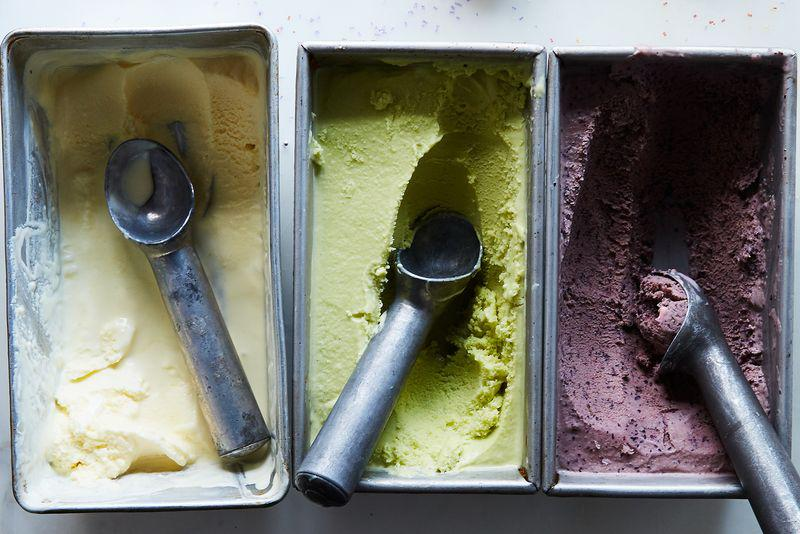 Pickle-flavored ice cream ready to be scooped.
