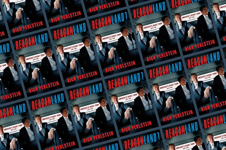 A repeating pattern of covers of Reaganland.
