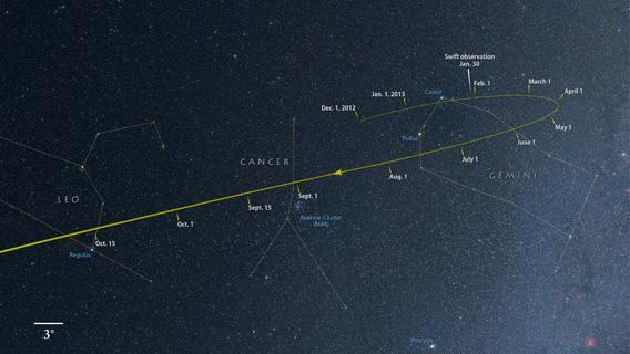 NASA sky map of ISON
