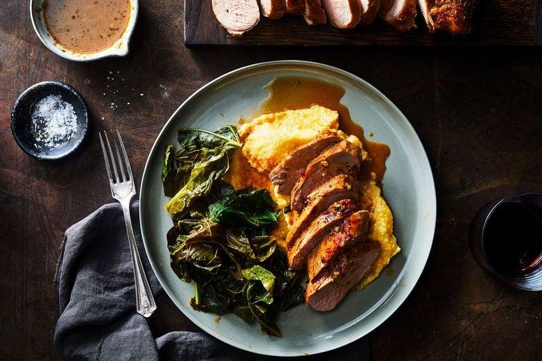 Pork tenderloin and greens on the side.
