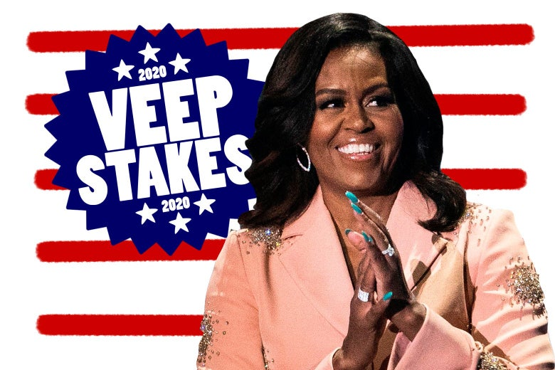 Michelle Obama in front of a 2020 Veepstakes badge.