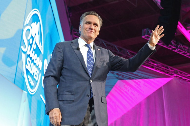 Mitt Romney waves as he leaves the stage at the Silicon Slopes Tech Conference in Salt Lake City, Utah.