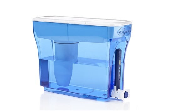 Clear blue ZeroWater dispenser.