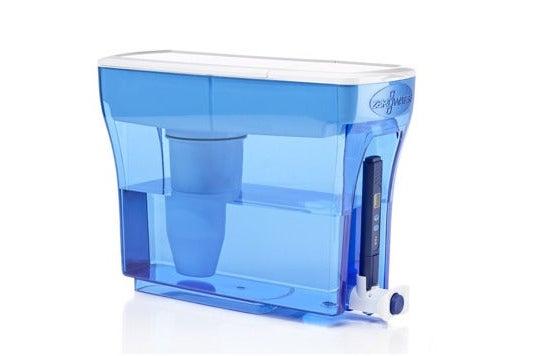 Clear blue ZeroWater dispenser.