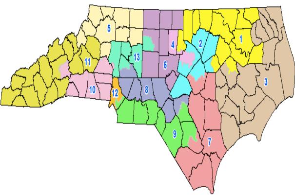North Carolina congressional map.