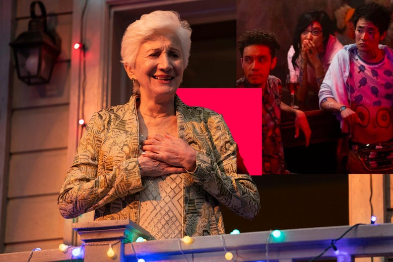 A still of Olympia Dukakis as Anna Madrigal, with a still of Garcia, Ashley Park, and Christopher Larkin as Jake, Ani, and Raven, respectively, in the corner.