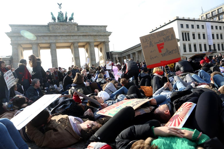 Demonstrators protest at the March for our Lives demonstration on March 24, 2018 in Berlin, Germany.