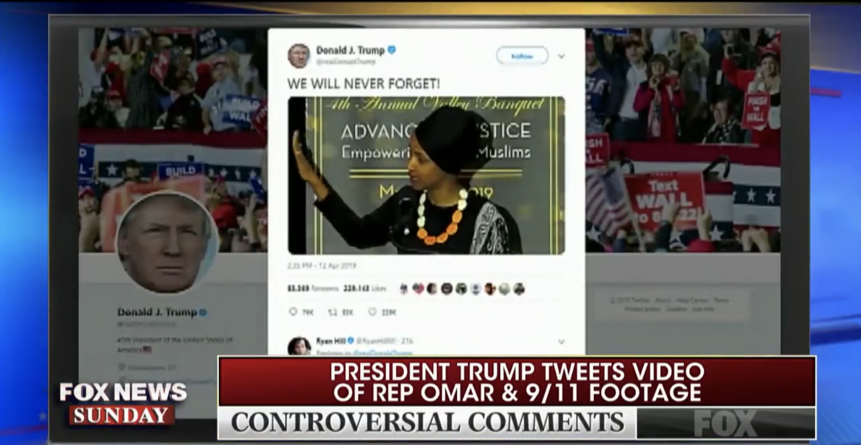 A screenshot showing part of the brief clip Fox's Chris Wallace showed of the video that President Donald Trump tweeted attacking Rep. Ilhan Omar.