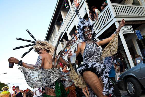 Costumed dancers on the first day of street parades during Fantasy Fest October 29, 2010 in Key West, Florida.