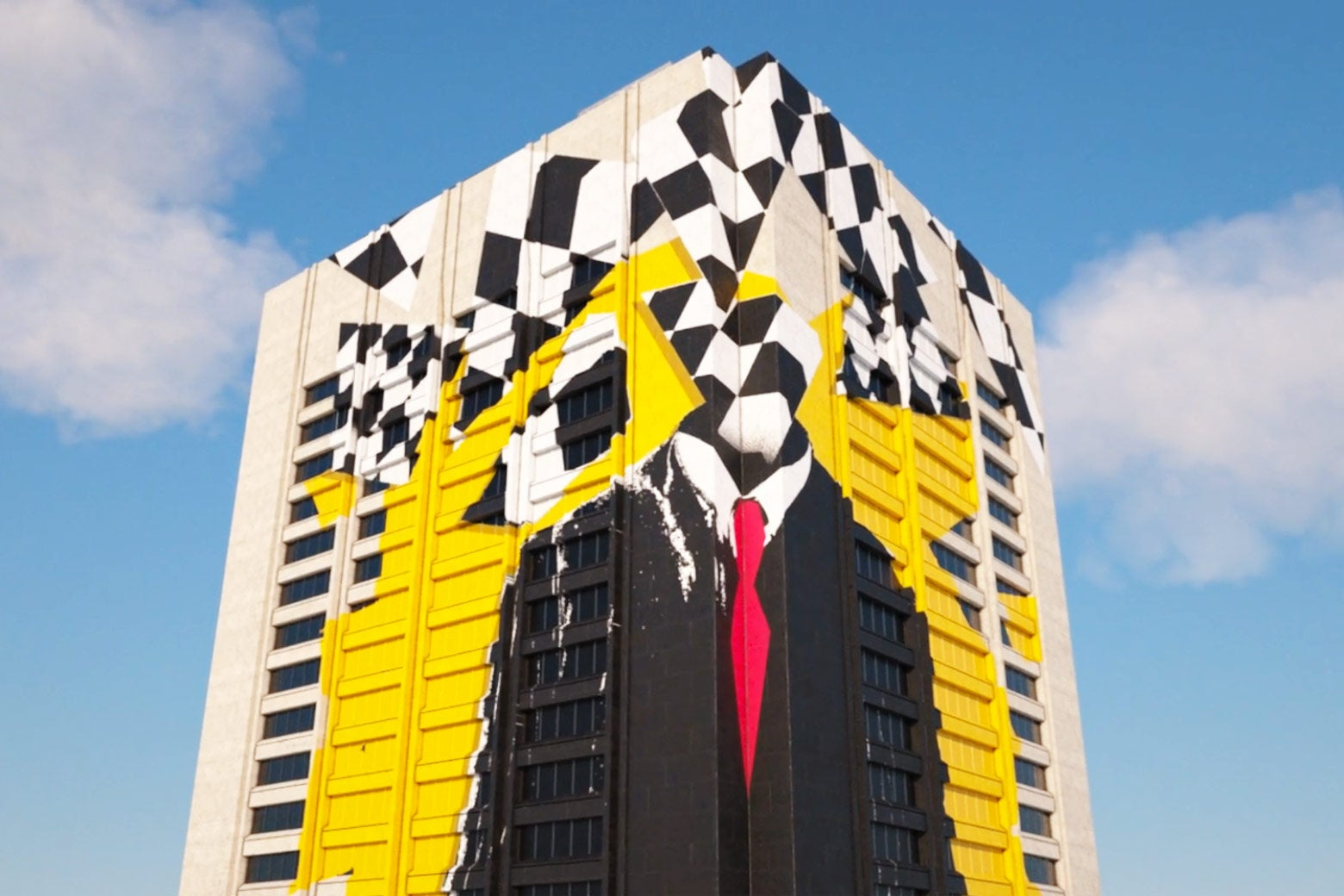 "Animation from Season 3, Episode 2 of Serial: ""You've Got Some Gauls."" It's a slow pan up a building that depicts a large mural of a male judge offset by checker pattern and yellow paint."