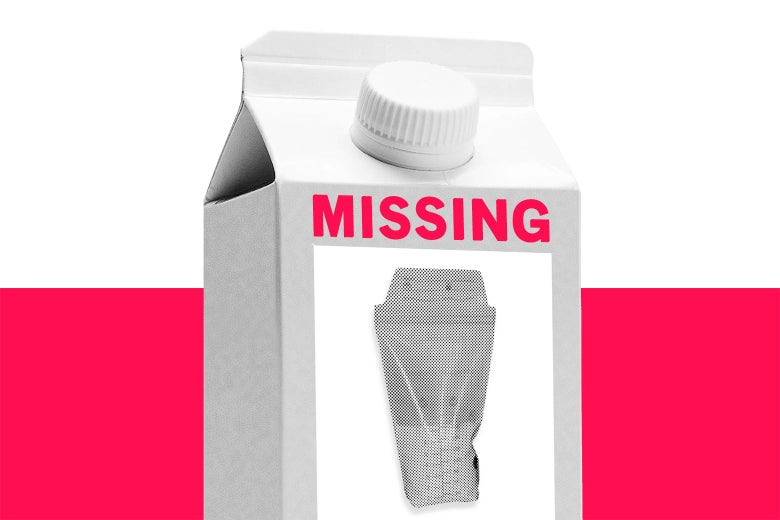 """A milk carton with a """"missing"""" label on it."""