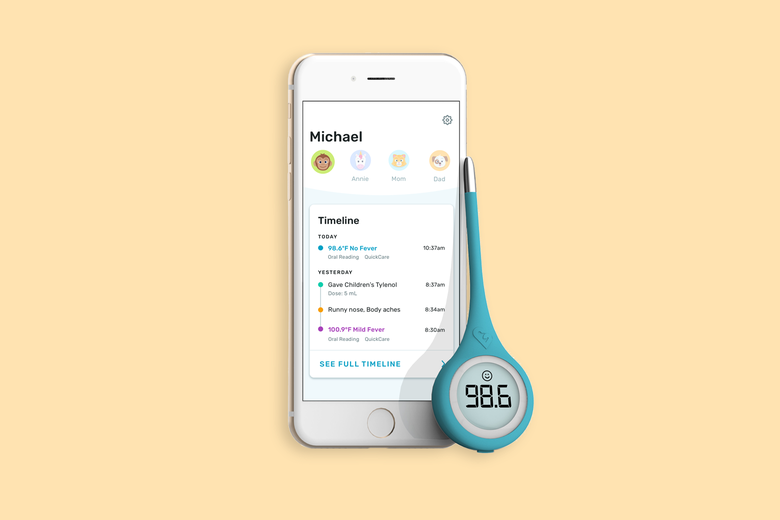 A Kinsa thermometer along with the mobile app.