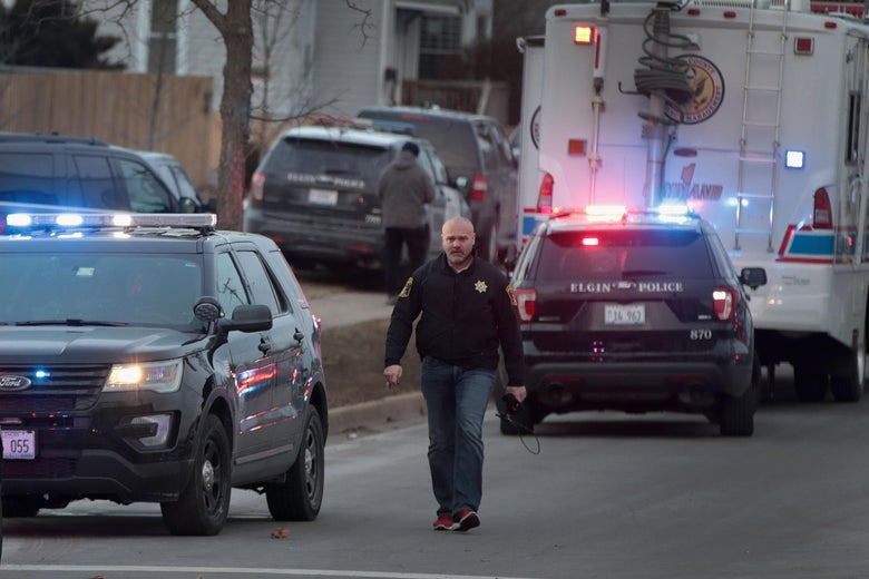 Police secure the area following a shooting at the Henry Pratt Company on February 15, 2019 in Aurora, Illinois.