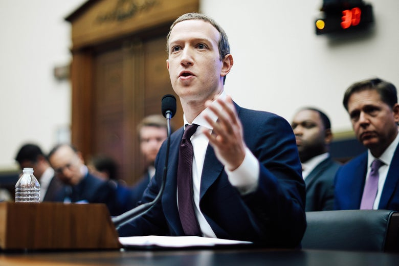 Mark Zuckerberg testifies before the House Financial Services Committee in Washington on Oct. 23.