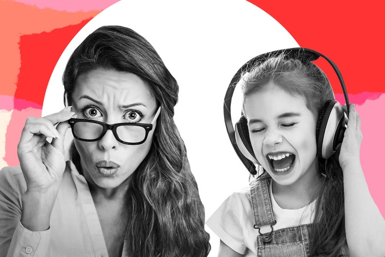 A mother clutching her glasses and worrying while her daughter sings along with some music with naughty words.