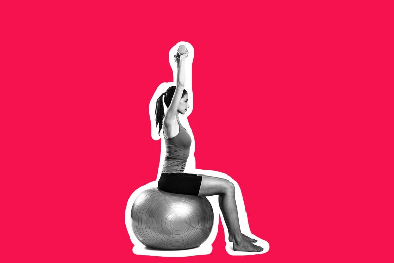 A woman sitting on an exercise ball, holding a weight above her head.