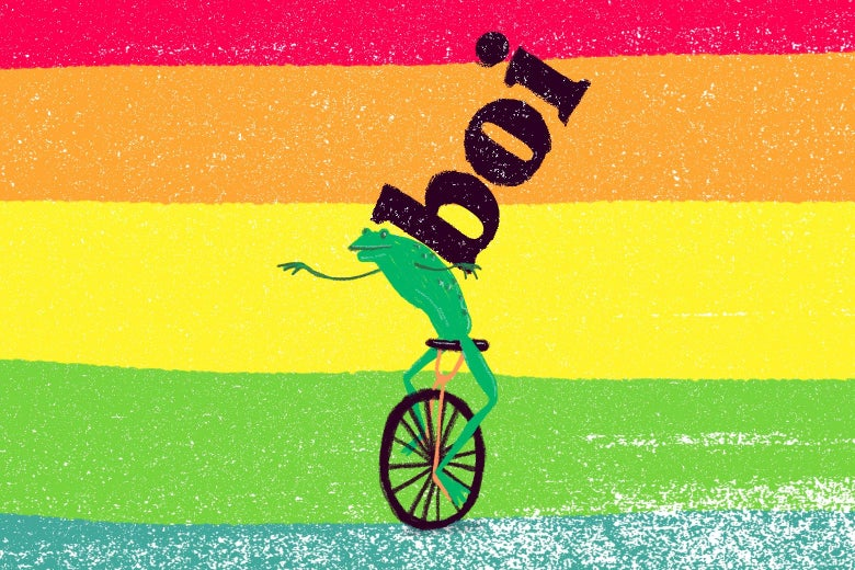 The word boi on the back of the unicycle-riding frog from the Dat Boi meme, on a rainbow background