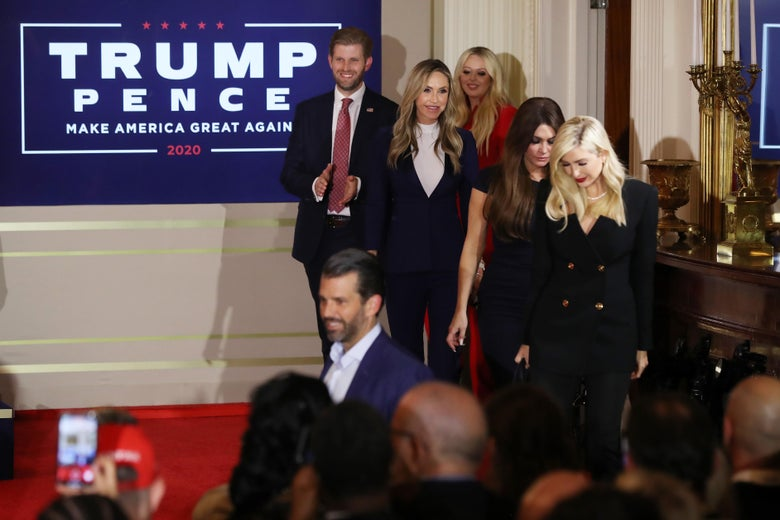 Donald Trump Jr., Ivanka Trump, Kimberly Guilfoyle, Lara Trump, Eric Trump, and Tiffany Trump appear on election night in the East Room of the White House in the early morning hours of November 04, 2020 in Washington, DC.