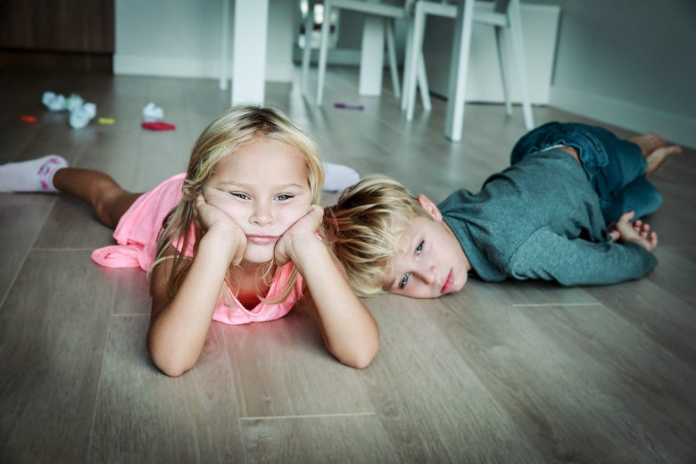 Kids looking bored.