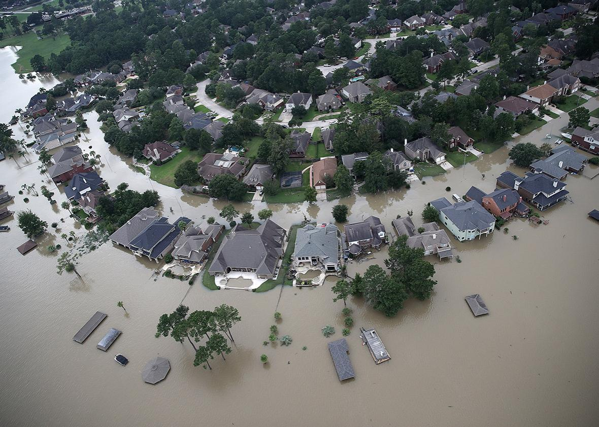 Flooded homes are shown near Lake Houston following Hurricane Harvey on Aug. 30 in Houston.