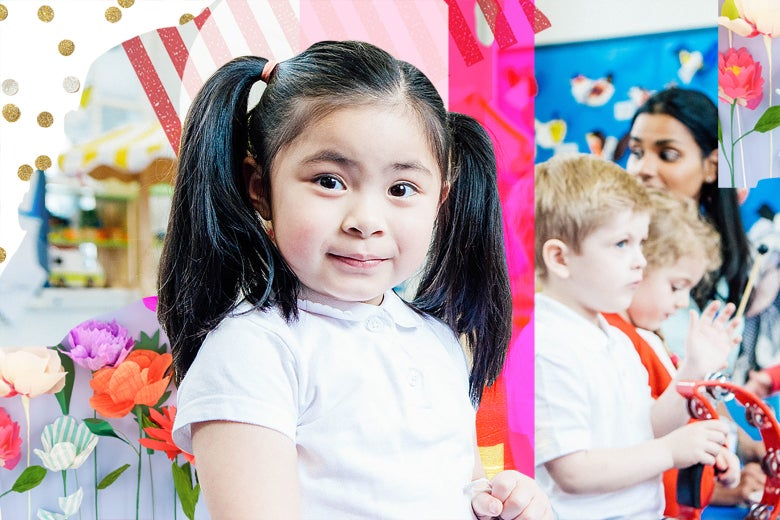 A little girl in a day care center with collage elements all around her.