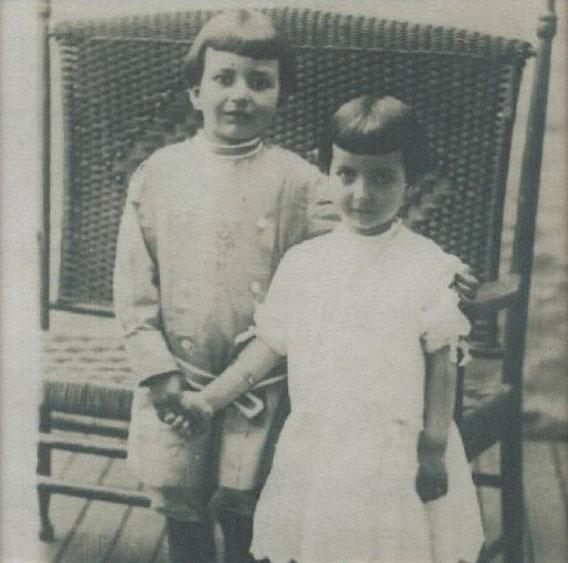 Althea on the right, age 4-1/2, with her brother Alvin, in 1911.