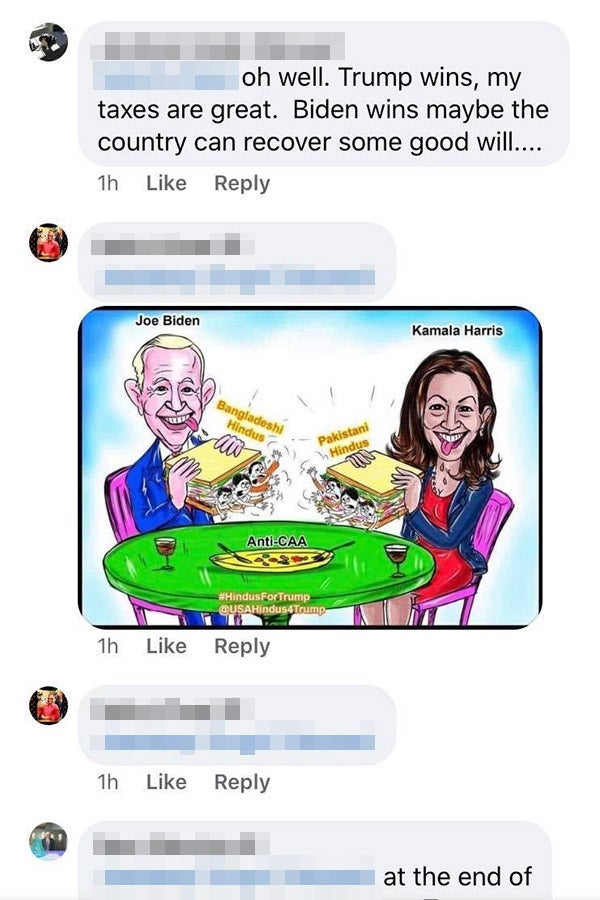 A screenshot of some Facebook comments, featuring a right-wing cartoon of Joe Biden and Kamala Harris