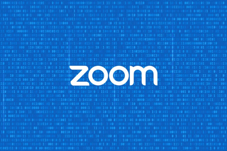 The Zoom logo against a background showing zeroes and ones.