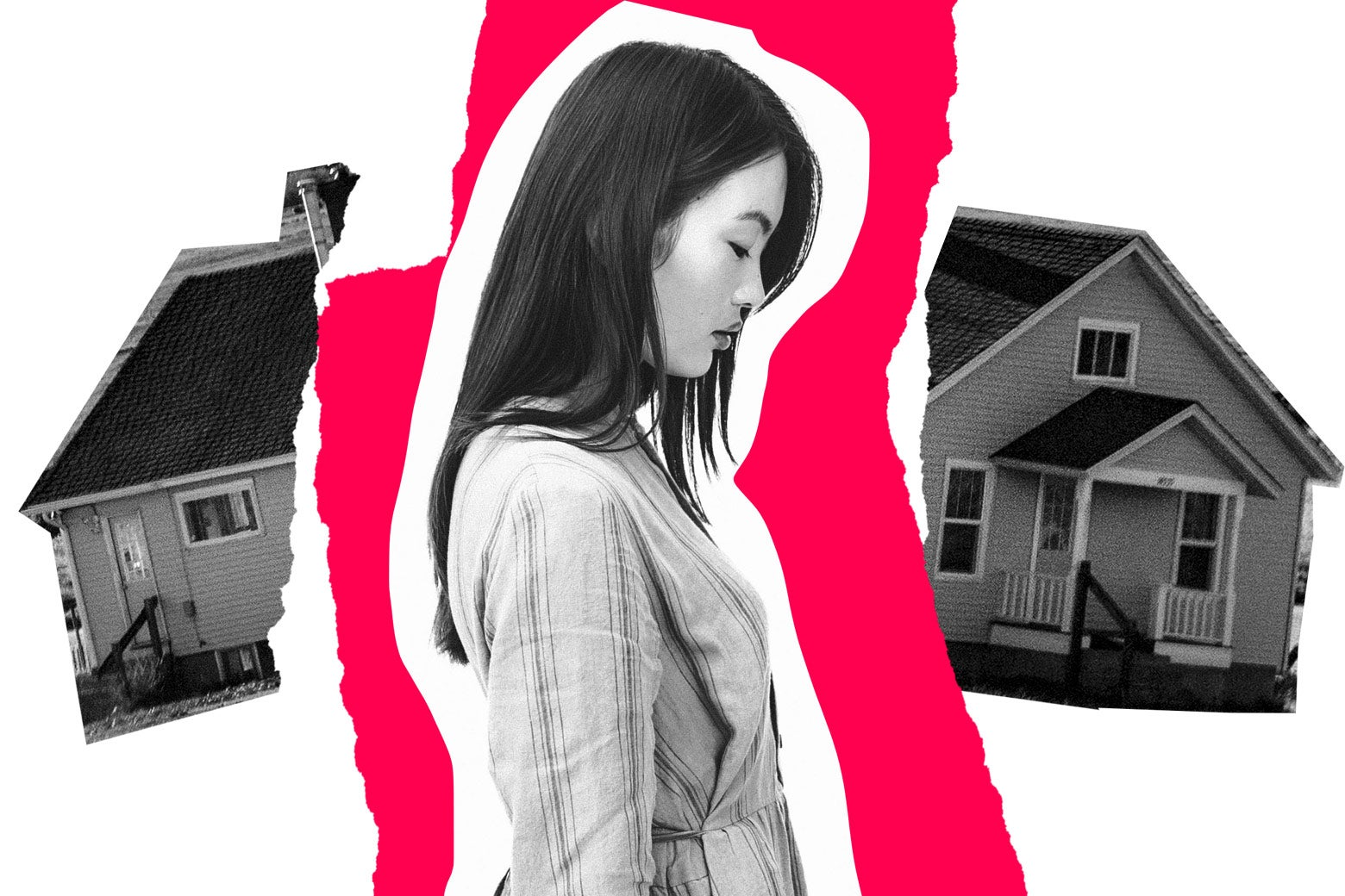 A despondent woman in the middle of a house broken in two.