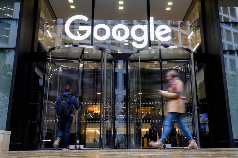 People walk past Google's U.K. headquarters in London on Nov. 1, 2018.