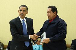 Barack Obama and Hugo Chávez.  Click image to expand.