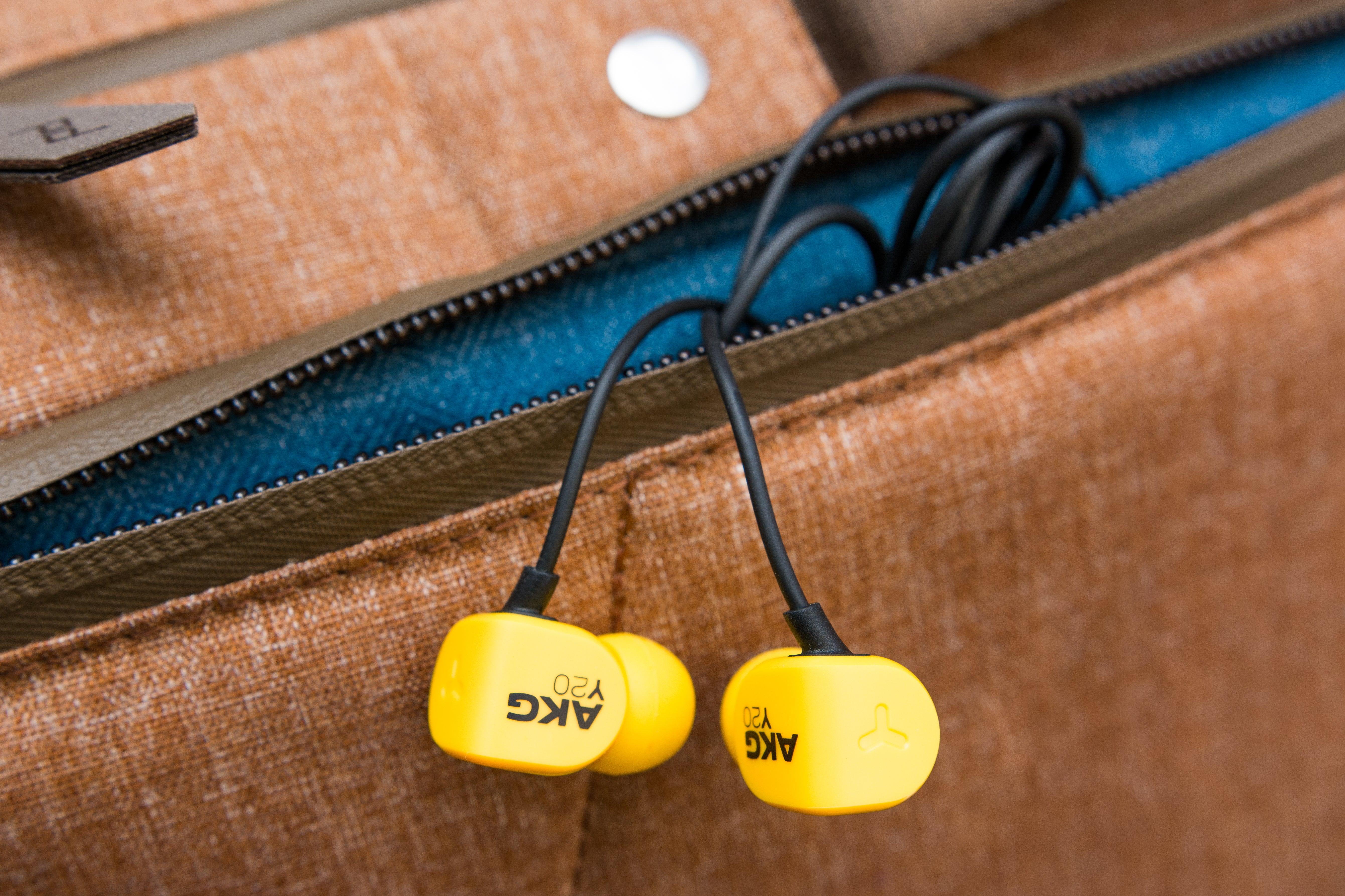 AKG Y20U headphones in a bag