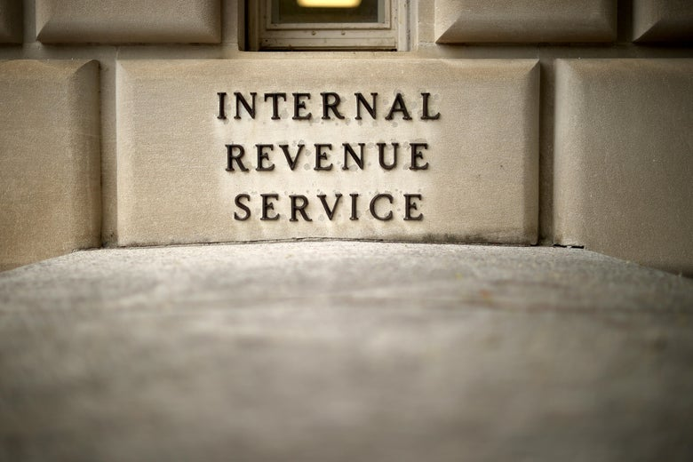 """A brick on the exterior of the IRS building in Washington reads """"Internal Revenue Service"""""""