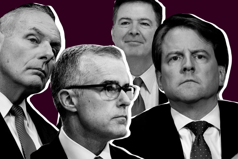 Photo collage of Kelly, McCabe, Comey, and McGahn.