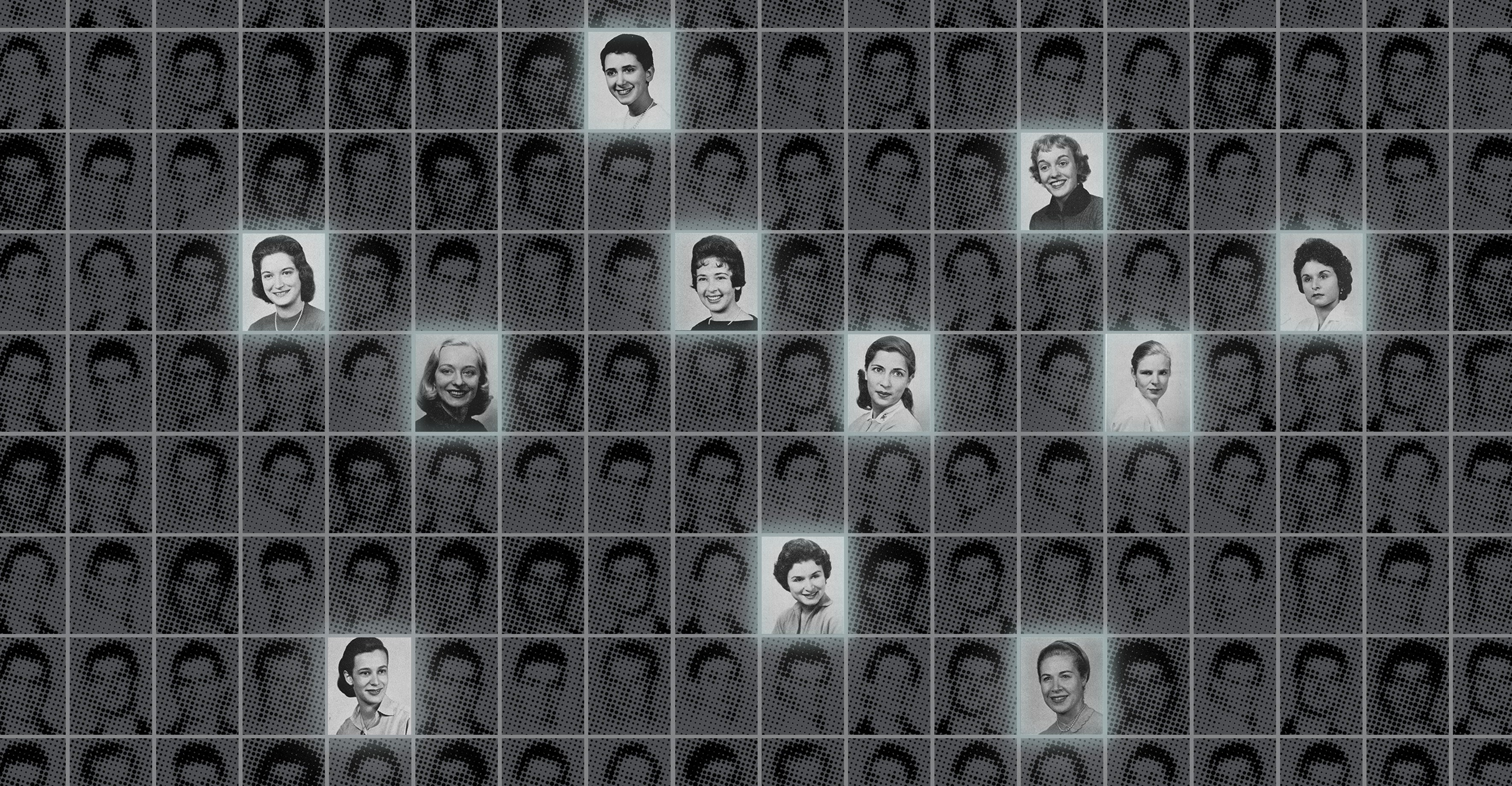 Yearbook photos of the women mentioned in the article against the background of yearbook photos of anonymous men.