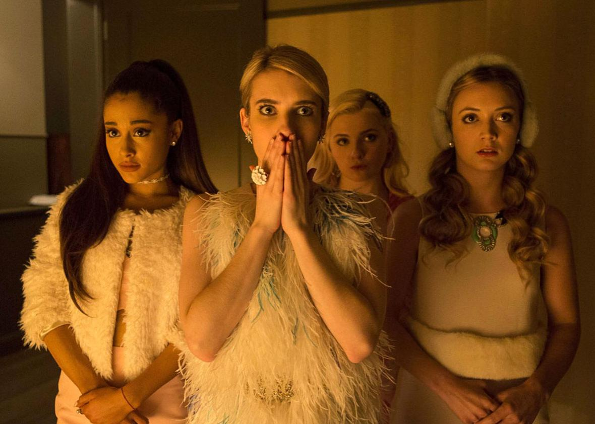 Emma Roberts, Abigail Breslin, Ariana Grande and Billie Lourd in,Emma Roberts, Abigail Breslin, Ariana Grande and Billie Lourd in Scream Queens (2015).