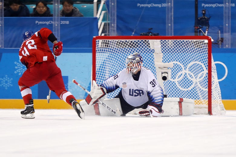 GANGNEUNG, SOUTH KOREA - FEBRUARY 21:  Petr Koukal #42 of the Czech Republic scores a goal on Ryan Zapolski #30 of the United States in an overime shootout to defeat the United States 3-2 during the Men's Play-offs Quarterfinals on day twelve of the PyeongChang 2018 Winter Olympic Games at Gangneung Hockey Centre on February 21, 2018 in Gangneung, South Korea.  (Photo by Ronald Martinez/Getty Images)